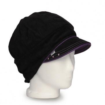 Baskenmütze Feincord schwarz Paspel lila