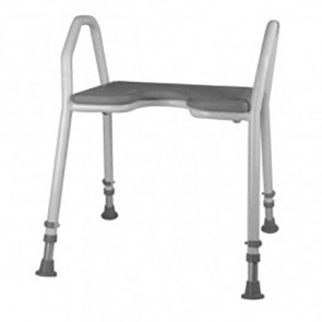 Alu-Duschhocker, weiss, mit grauem weichem Sitz
