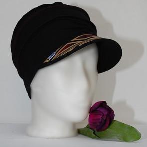 Mütze La Donna, leichte mütze schwarz-muster