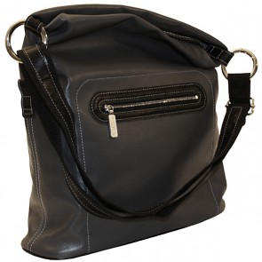 Handtasche Adele, Leder dunkelgrau