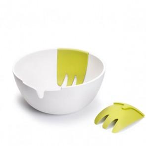Salatschüssel mit Besteck Hands-on