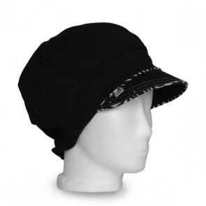 Baskenmütze schwarz beige