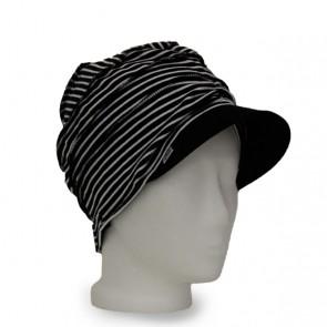 Mütze La Donna schwarz weiss geringelt, leicht