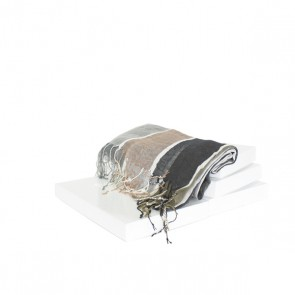 Schal Streifen grau, kaki, silber