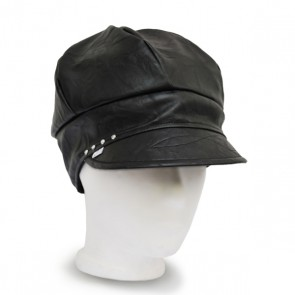 Baskenmütze Leder Strass schwarz